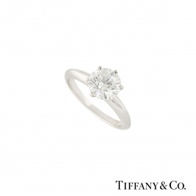 Tiffany & Co. Platinum Setting Band Diamond Ring 1.50ct H/VVS2